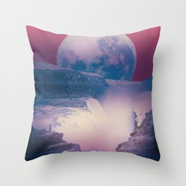 red sky with moon, Iceland Throw Pillow