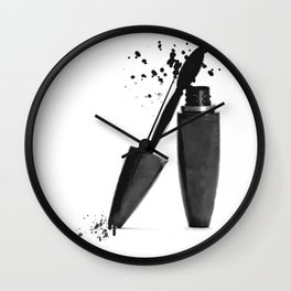 Black mascara fashion illustration Wall Clock
