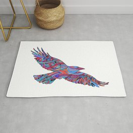 Hand-drawn crows with ethnic floral pattern. Coloring page - zendala Rug
