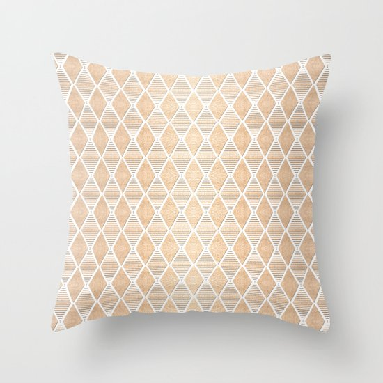White and Copper Geometric Pattern Throw Pillow