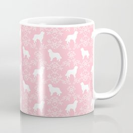 Bernese Mountain Dog florals dog pattern minimal cute gifts for dog lover silhouette pink and white Coffee Mug