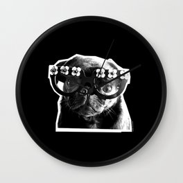 PUG SUKI - FLORAL SPECS - BLACK AND WHITE Wall Clock