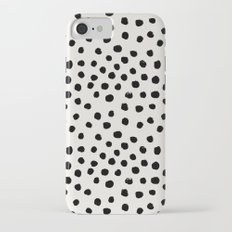 Preppy brushstroke free polka dots black and white spots dots dalmation animal spots design minimal Slim Case iPhone 7