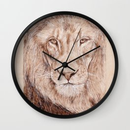 Lion Portrait - Drawing by Burning on Wood - Pyrography Art Wall Clock