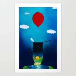 Top Hat Landscape, Surreal Balloon and Clouds Art Print