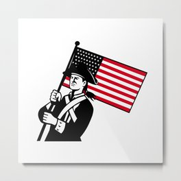 American Patriot Holding Flag Retro Metal Print
