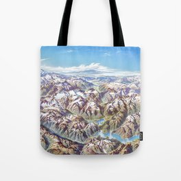 Sky Panorama Map of North Cascade National Park Tote Bag
