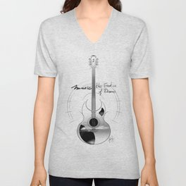 The acoustic guitar - Music, The Frontier of Dreams. Unisex V-Neck