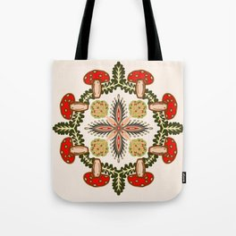 Fly Agaric Toadstool Forest Folkart, Red Fungi Mushroom Design with Trees Tote Bag