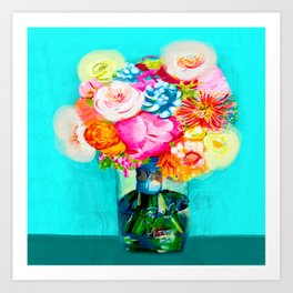 Bight Turquoise and Hot Pink Mason Jar Bouquet Painting Art Print