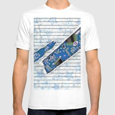 Stationary Scratch with Circuit Board MEDIUM White Mens Fitted Tee