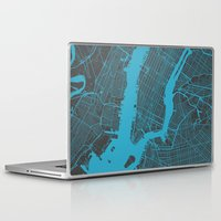 new york map Laptop & iPad Skins featuring new york map by Map Map Maps