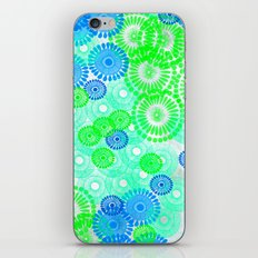 Flower Power Blue Green iPhone & iPod Skin