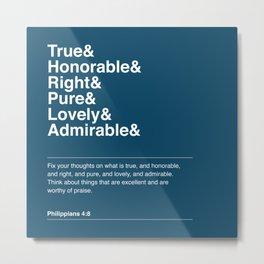 Philippians 4:8 (Blue Version) Metal Print
