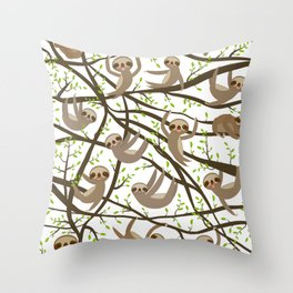 funny and cute smiling Three-toed sloth on green branch tree creeper Throw Pillow