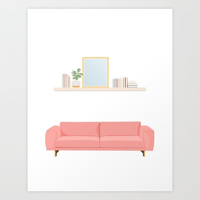 Modern Sofa With Shelf Living Coral Art Print By Josiebiteng