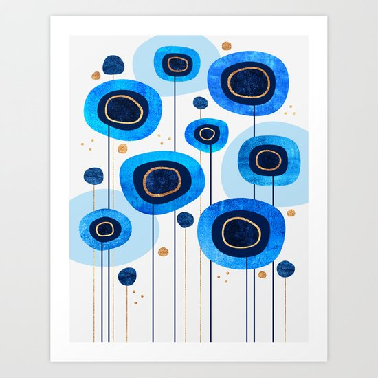 Floral Blues Art Print