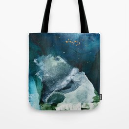 Untamed [2]: a vibrant minimal abstract design in blue gold and white by Alyssa Hamilton Art Tote Bag