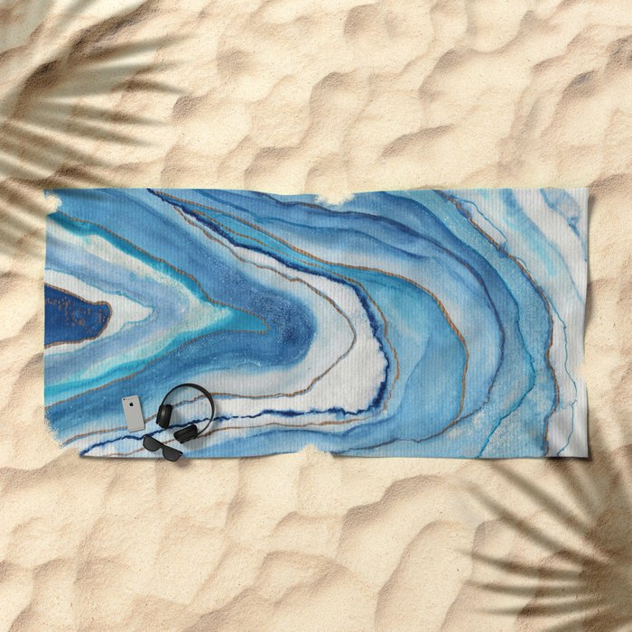 AGATE Inspired Watercolor Abstract 02 Beach Towel