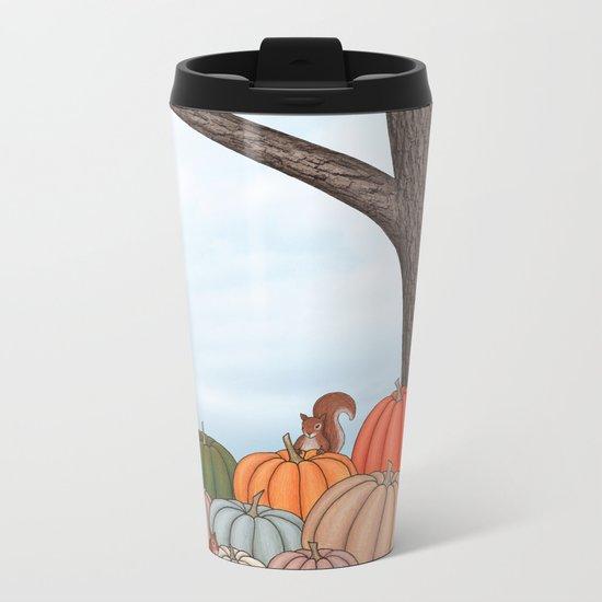 heirloom pumpkins, squirrels, & the oak tree Metal Travel Mug