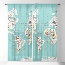 Cartoon animal world map for children and kids, Animals from all over the world back to school Sheer Curtain