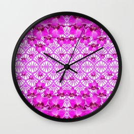 ABSTRACT PATTERNED PURPLE ART DECO  ORCHIDS Wall Clock