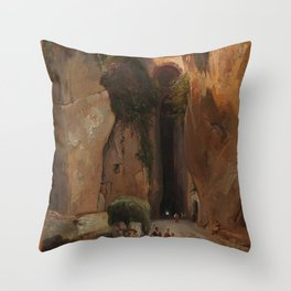 Jean-Charles-Joseph Remond - Entrance to the Grotto of Posillipo Throw Pillow