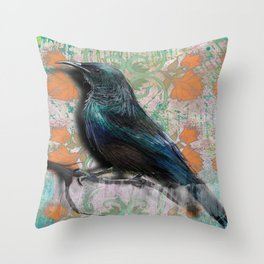 Orange flowers bird Throw Pillow