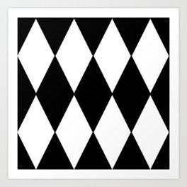 LARGE BLACK AND WHITE HARLEQUIN DIAMOND PATTERN Art Print