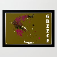 greece Art Prints featuring Greece by HNLdesign
