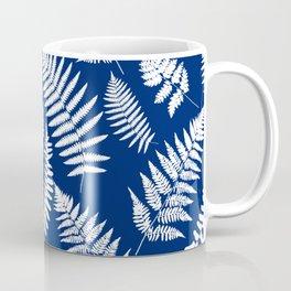 Woodland Fern Pattern, Cobalt Blue and White Coffee Mug