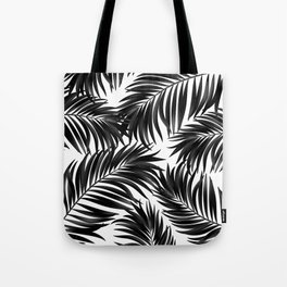 Palm Tree Fronds Black on White Maui Hawaii Tropical Graphic Design Tote Bag
