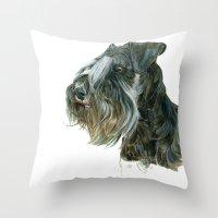 schnauzer Throw Pillows featuring Schnauzer by Anne Hviid Nicolaisen