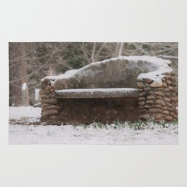 Snow Covered Bench Photography Rug
