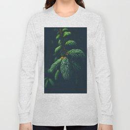 Green Pine Tree Close Up Winter Christmas Long Sleeve T-shirt