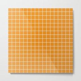 Carrot orange - orange color - White Lines Grid Pattern Metal Print
