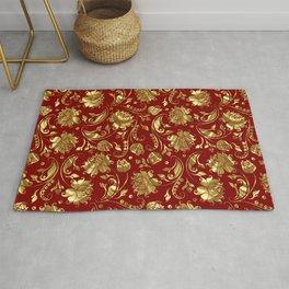 Dark Red & Gold Floral Damasks Pattern Rug