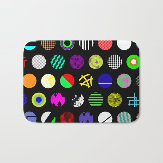 Eclectic Circles - Abstract collage of random, colourful, bold, eclectic circles Bath Mat