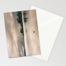 Evening rainclouds, bird and distant rain over Skiddaw and Derwent Water. Lake District, UK. Stationery Cards