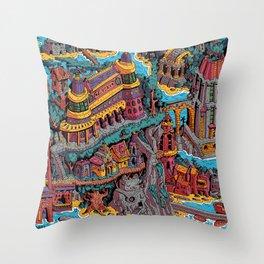 Mumbo Jumbo City (Color) Throw Pillow