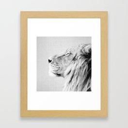 Lion Portrait - Black & White Framed Art Print