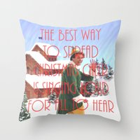 will ferrell Throw Pillows featuring Christmas Cheer / Elf by Earl of Grey