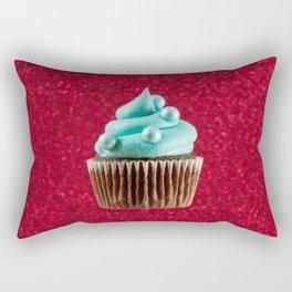 Cupcake Love | Aqua Swirl on Red Sparkle Rectangular Pillow
