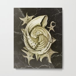 Dystopian Conch - Gold Metal Print