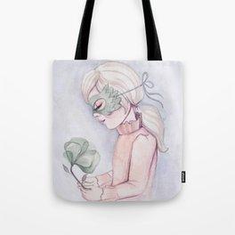 Girl Holding Flower Tote Bag