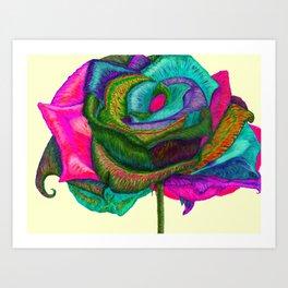 Pinkie Teal Neon Rose (Rainbow Roses) Art Print