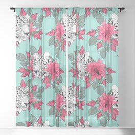Stylish leopard and cactus flower pattern Sheer Curtain