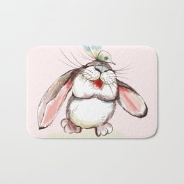 Cute bunny with butterfly. Vector illustration Bath Mat