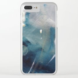 Deep Blue Waves Clear iPhone Case