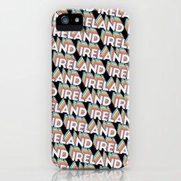 Ireland Trendy Rainbow Text Pattern (Black) iPhone Case